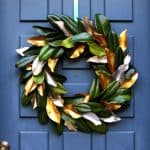 Easy tutorial & video on how to make a beautiful magnolia wreath for free! It is long-lasting & looks amazing for Thanksgiving, Christmas, or year round! A Piece of Rainbow