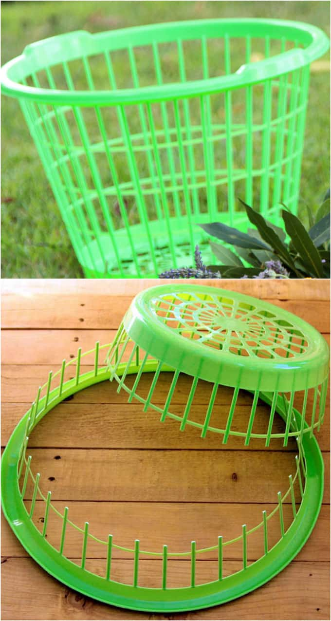 She cuts a Dollar Store laundry basket in half. Next? This ...