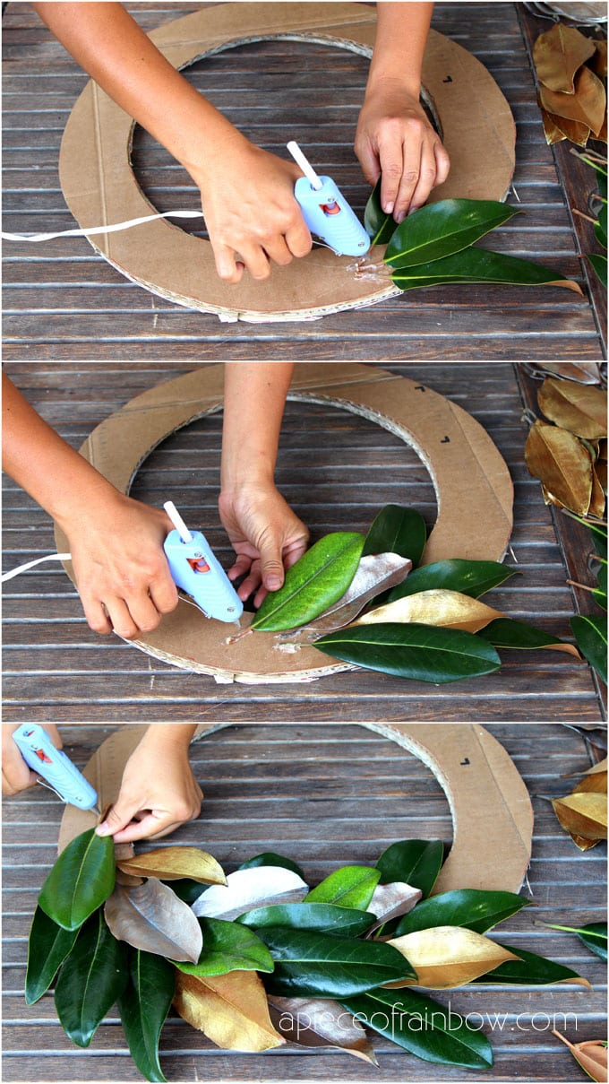 make magnolia wreath by gluing magnolia leaves onto the cardboard form