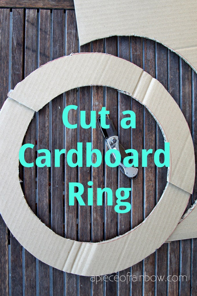 cut cardboard ring for diy wreath