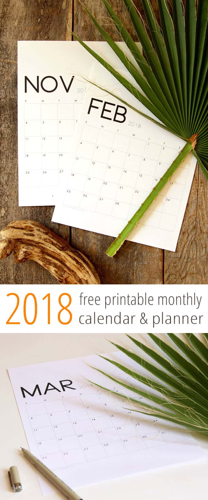 modern minimal printable 2018 calendar and monthly planner a piece