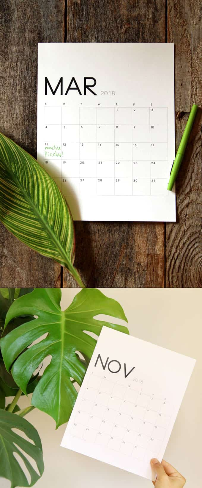 Free PDF download 2018 calendar and monthly planners in a gorgeous modern and minimal style! January 2018 through December 2018. - A Piece of Rainbow