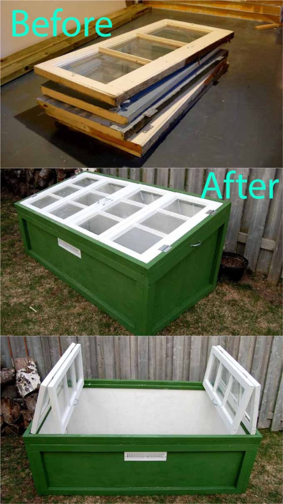 use old windows to build cold frame greenhouse