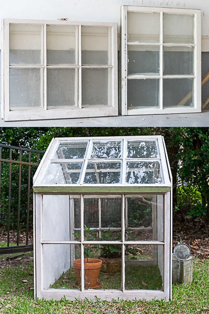 farmhouse DIY Greenhouses using old windows