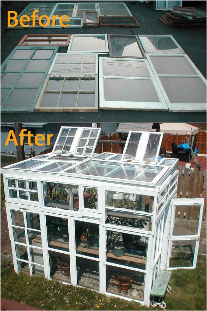 upcycle old windows into a greenhouse shed