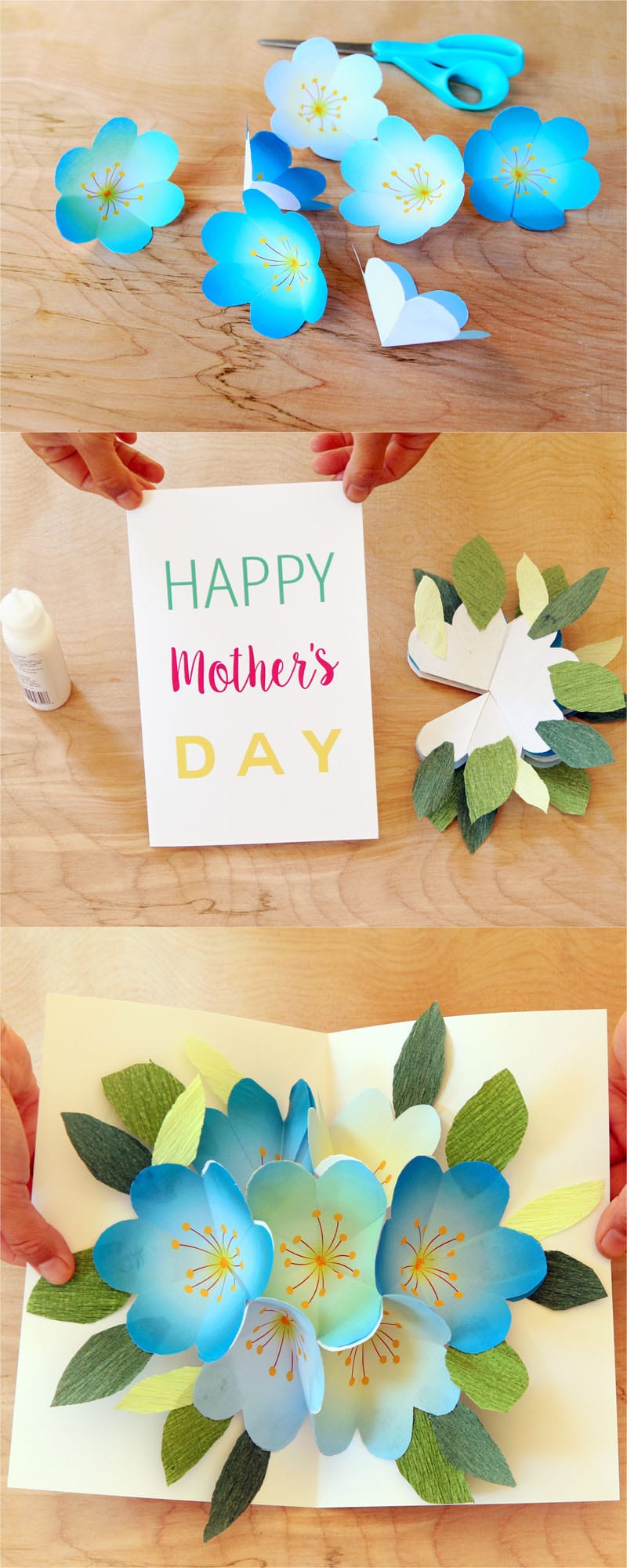 Pop up flowers diy printable mothers day card a piece of rainbow step 2 glue flowers together please check out the how to make pop up birthday card m4hsunfo