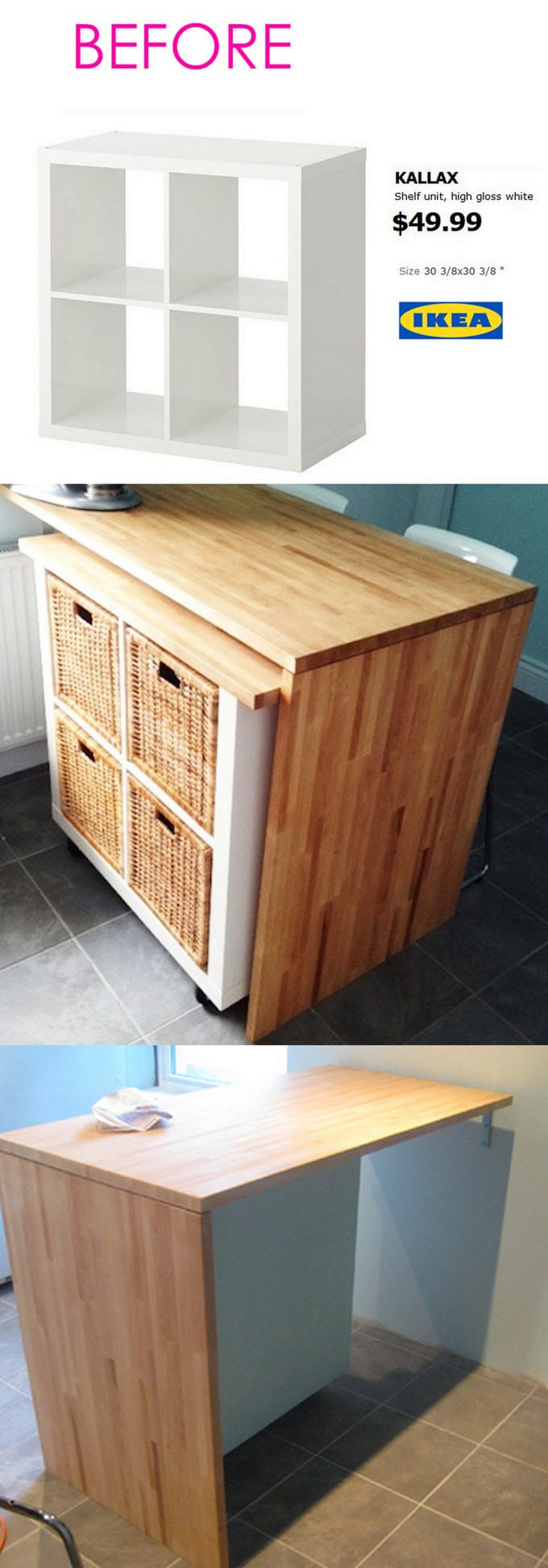 Similar To The First One, This Ikea Hack Kitchen Island / Bar Is Built Over  The Portable Kallax Unit. ( The Original Website Sketchystyles.com Has  Expired.