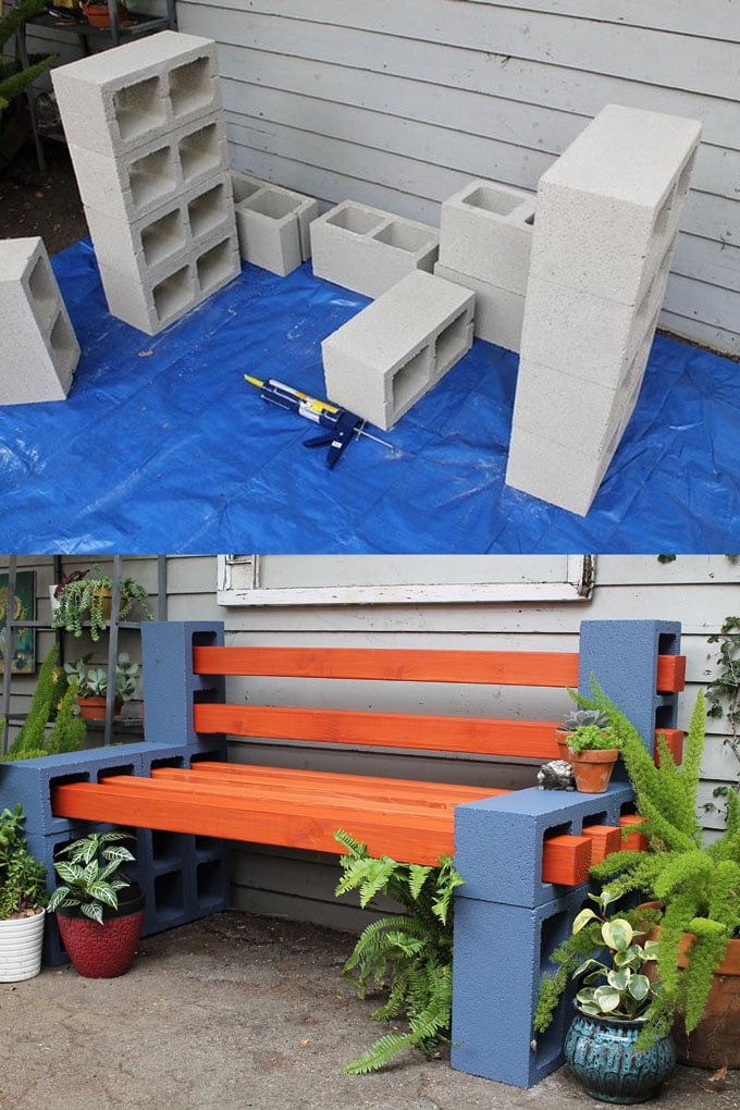cinder block bench DIY