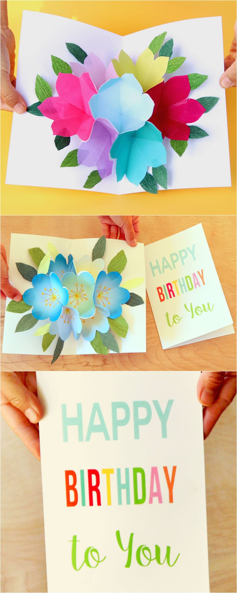 Free printable happy birthday card with pop up bouquet a piece of i also made a set of blue flowers for the diy mothers day card here which you can download to mix and match with your handmade happy birthday card bookmarktalkfo