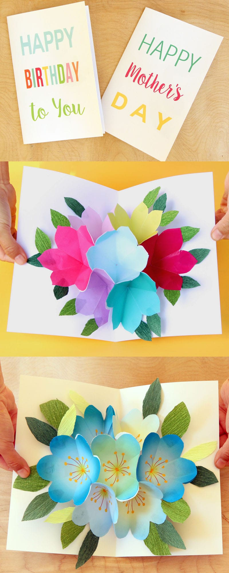 free printable happy birthday card with pop up bouquet - a piece of