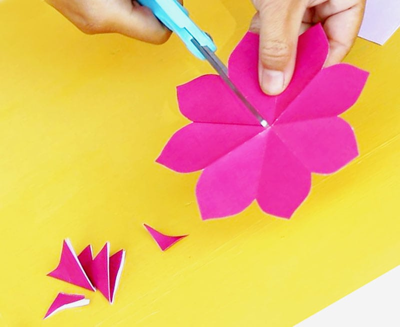 Free printable happy birthday card with pop up bouquet a piece of fold a 5 square into quarters now we have a small square fold the small square diagonally to forming a triangle make sure to have the petal template mightylinksfo