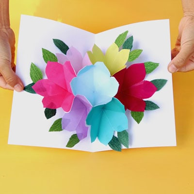 Free printable happy birthday card with pop up bouquet a for Pop up birthday cards for mom