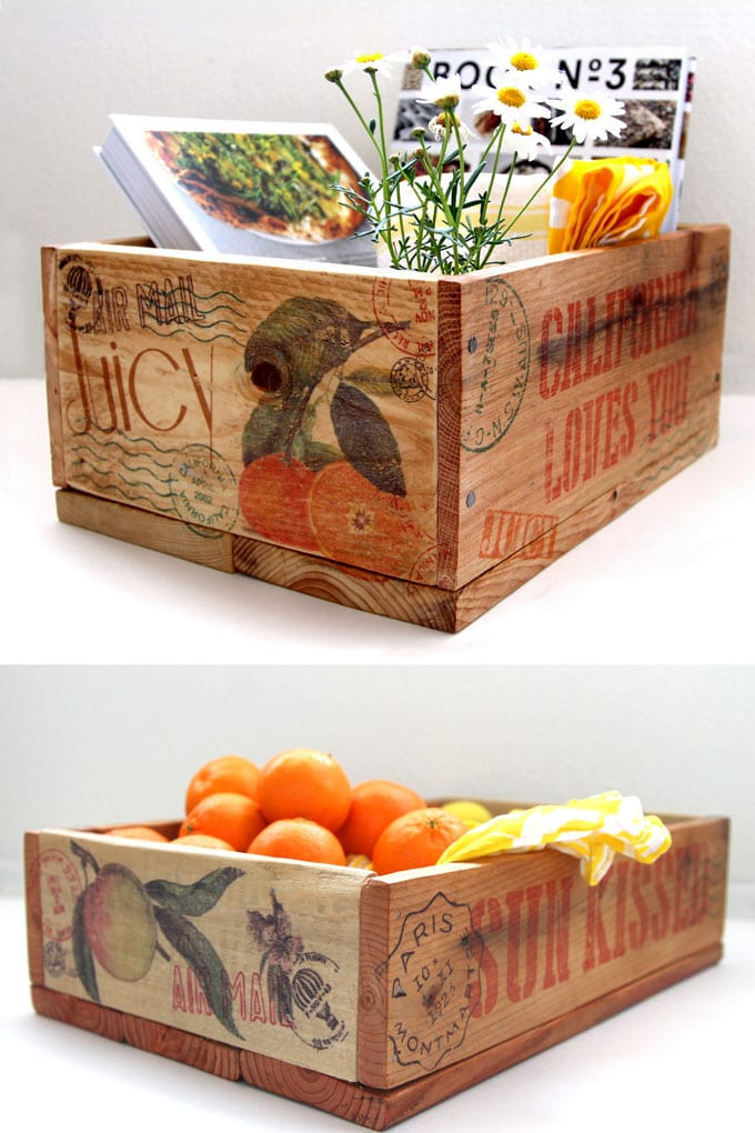 finished DIY vintage wooden crates with image transfer to wood