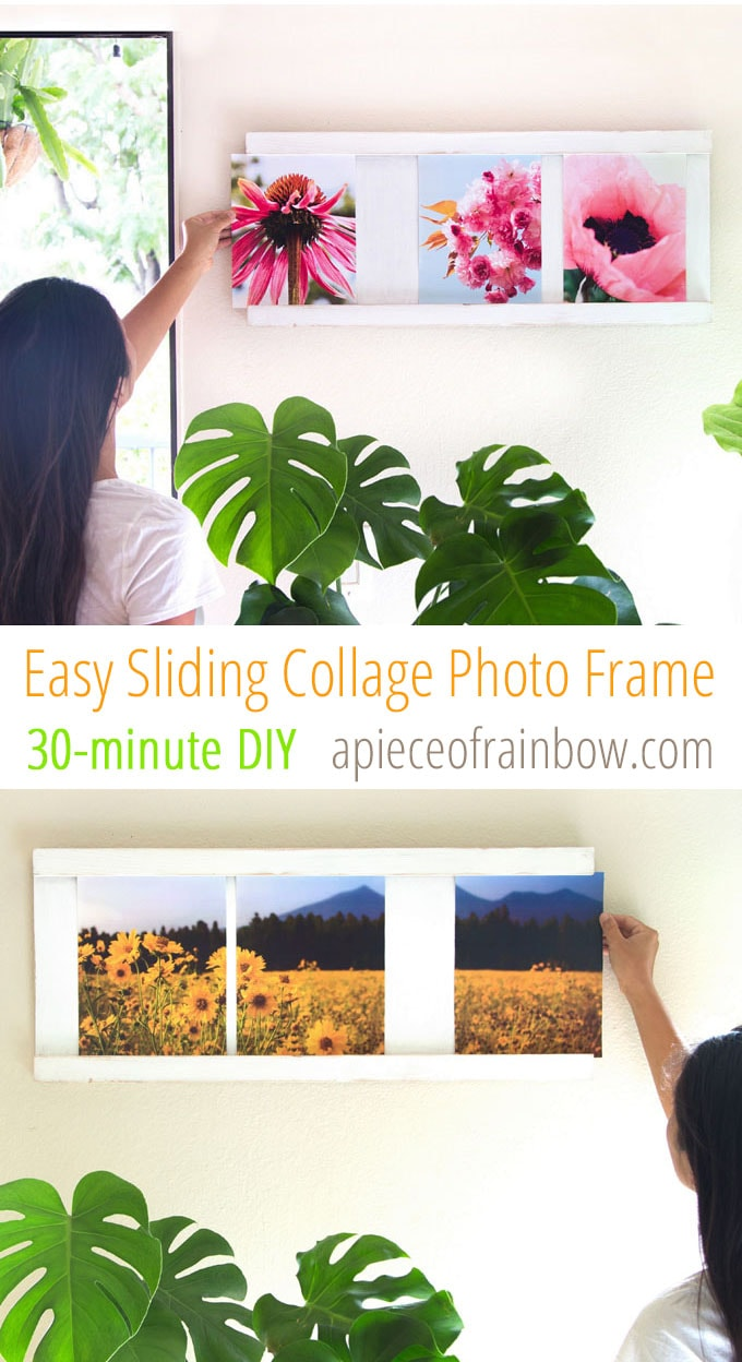 Easy sliding collage photo frame 30 minute 5 diy a piece of the best part is you can change all the photos in less than a minute without ever taking this picture frame off the wall jeuxipadfo Images