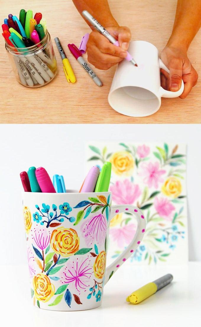 Watercolor Flower Diy Sharpie Mug Anthropologie Style A Piece Of Rainbow