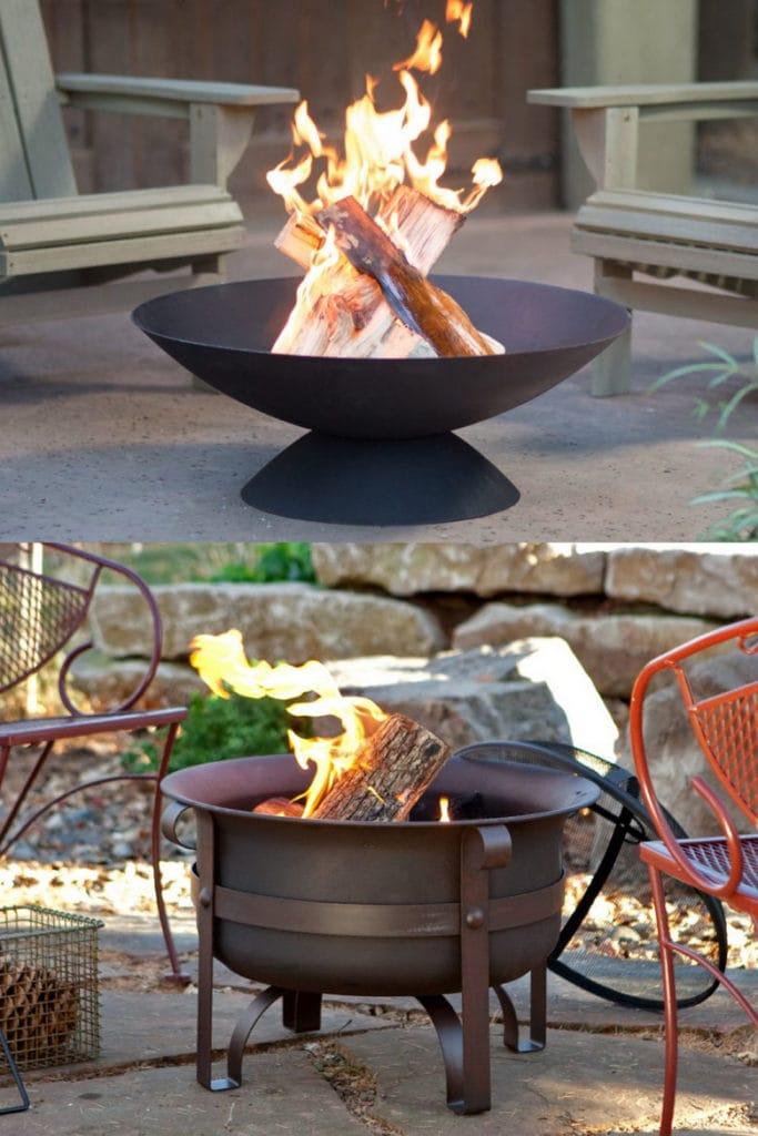 Backyard wood burning metal fire bowls.
