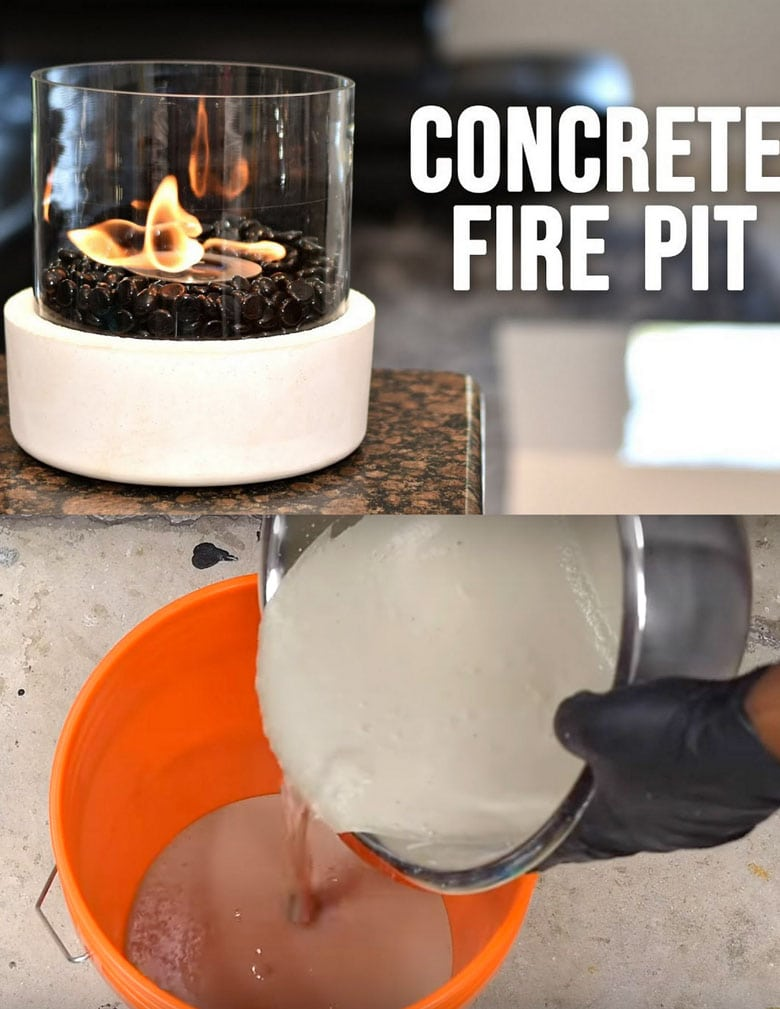 diy concrete and glass fire bowl