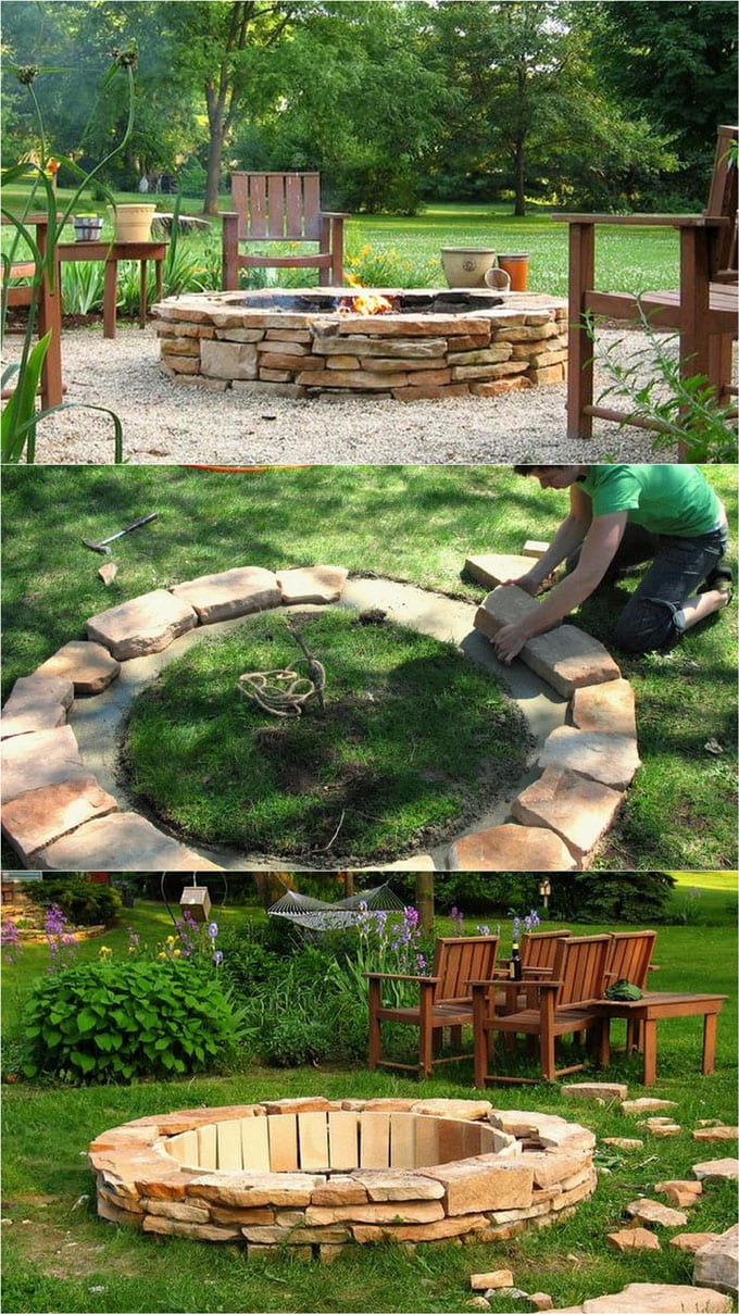 DIY fire pit with stacked stone