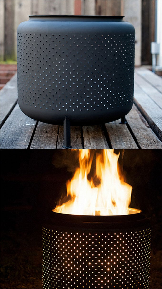 A recycled washing machine drum made into a firepit
