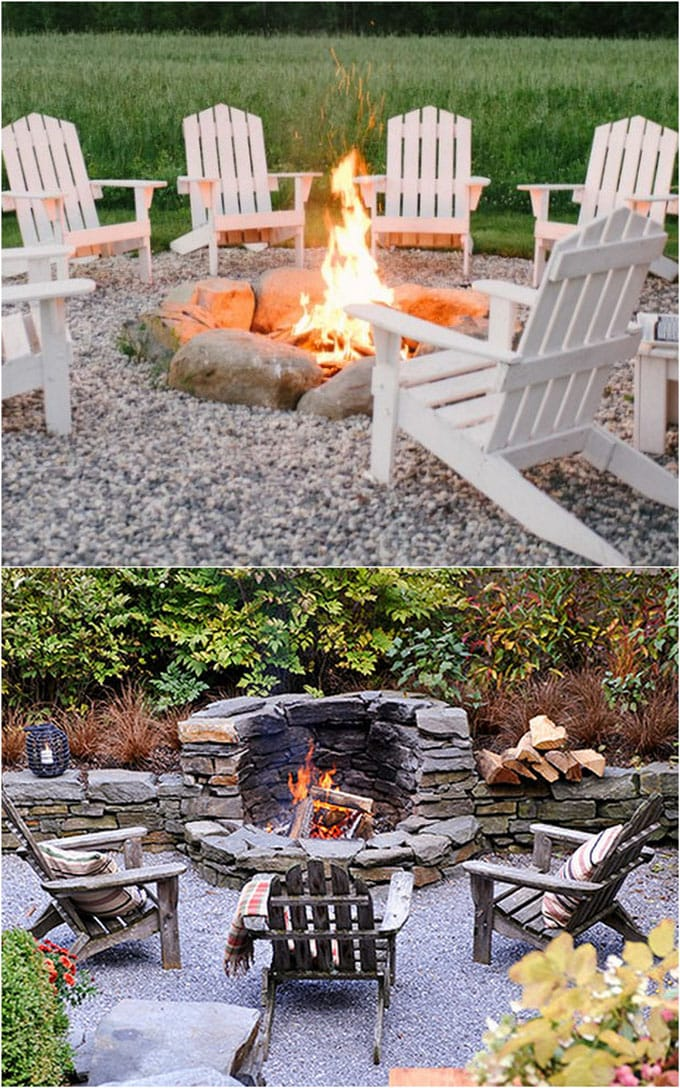 In ground fire pit with stacked rocks
