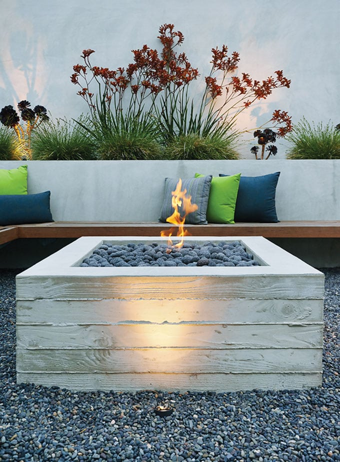 modern concrete DIY fire pit table and bench