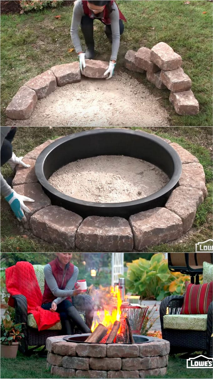 A Fire Pit Kit With Metal Ring And Circular Precast Stones Makes It So Much Easier To Build Your Own Feature Above Is The Video Tutorial From