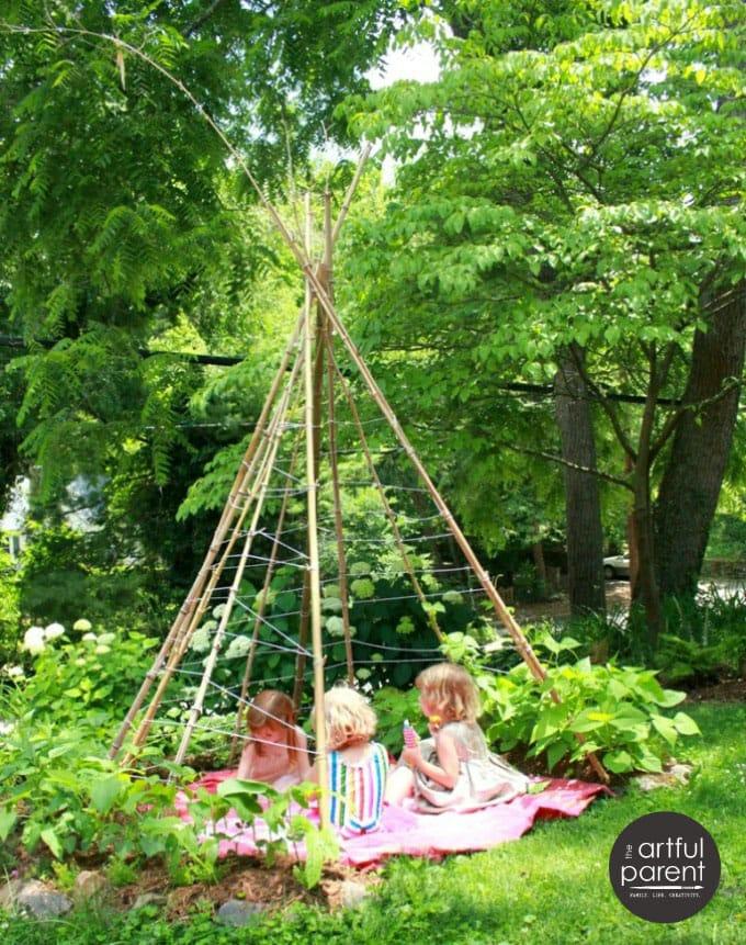 Magical DIY bamboo bean teepees garden trellis