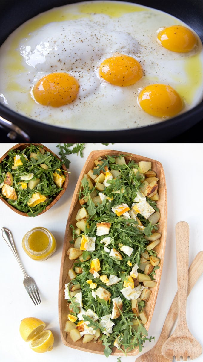frying eggs for healthy potato salad with eggs, arugula or kale greens and honey mustard dressing