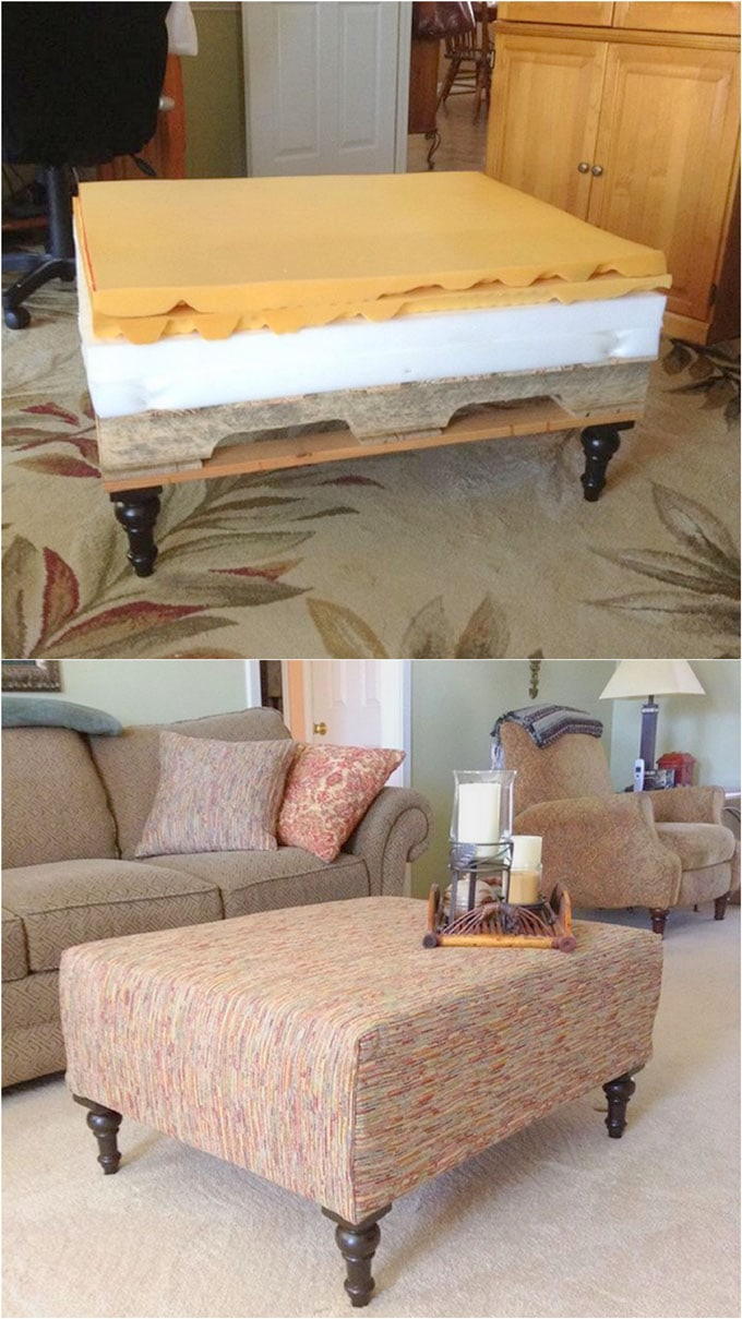 Beautiful Diy Ottoman From A Pallet And A Mattress
