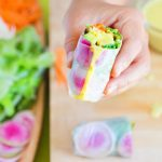 Easy 10 minute fresh vegetarian spring rolls: exploding with flavor and more nutritious than the traditional Vietnamese & Thai favorite. Two amazing dipping sauces: Peanut sauce and Lime chili sauce, plus video tutorial and lots of great tips! - A Piece of Rainbow