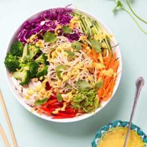 10 Minute Rainbow Chicken Pasta Salad: peanut sauce noodles packed with amazing flavors, nutritious ingredients, fresh vegetables, dressed with a dangerously addictive Flavor Bomb Thai Peanut Sauce. It's an easy weeknight dinner and great meal prep recipe with vegetarian and vegan variations. - A Piece of Rainbow