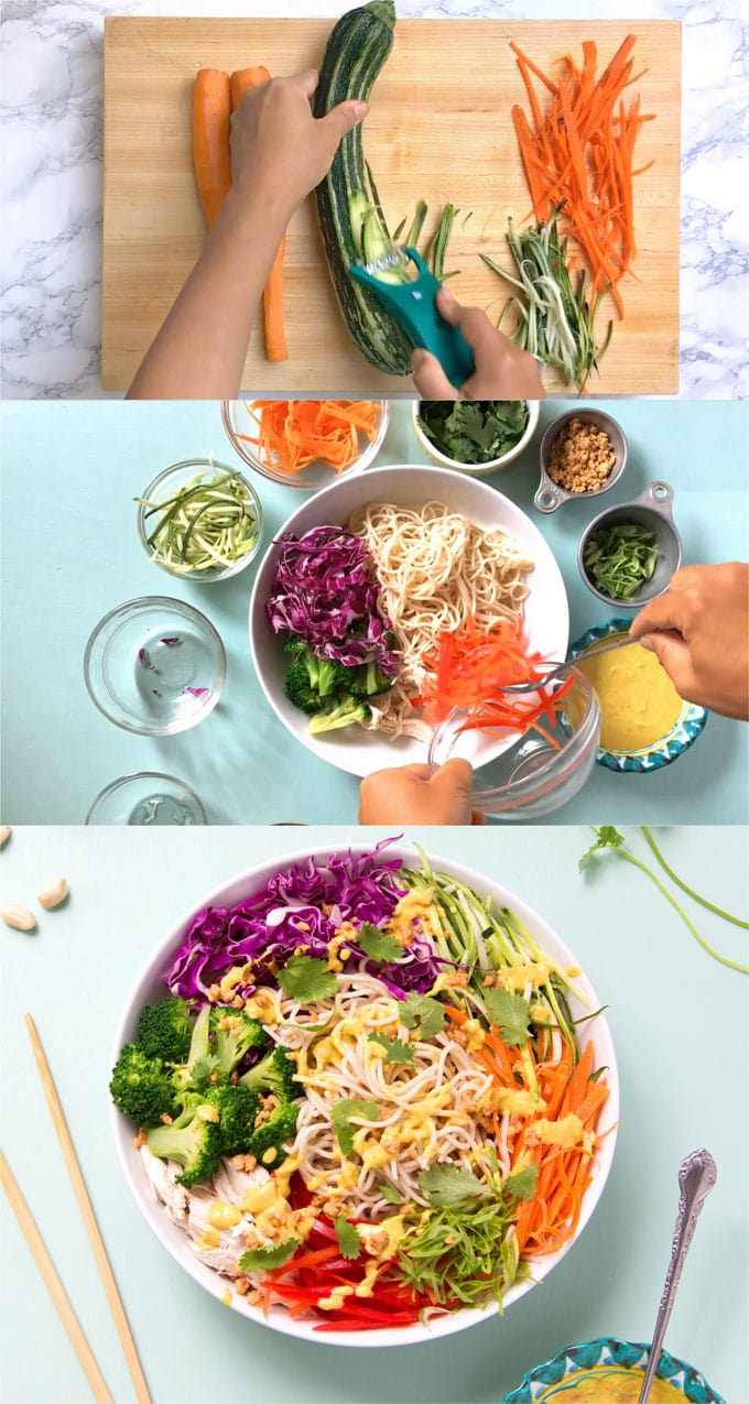 Rainbow Chicken Pasta Salad Best 10 Minute Peanut Sauce Noodles