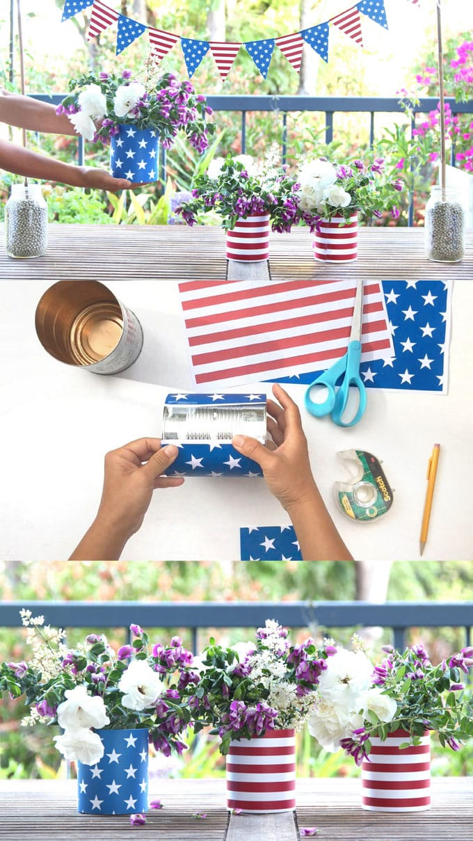 FREE in 5 minutes, perfect as Fourth of July or Memorial Day centerpieces, table or party decor!