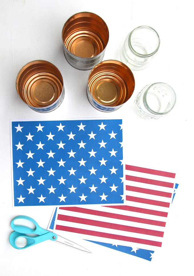 tin cans and printable fouth of july designs of stars and stripes