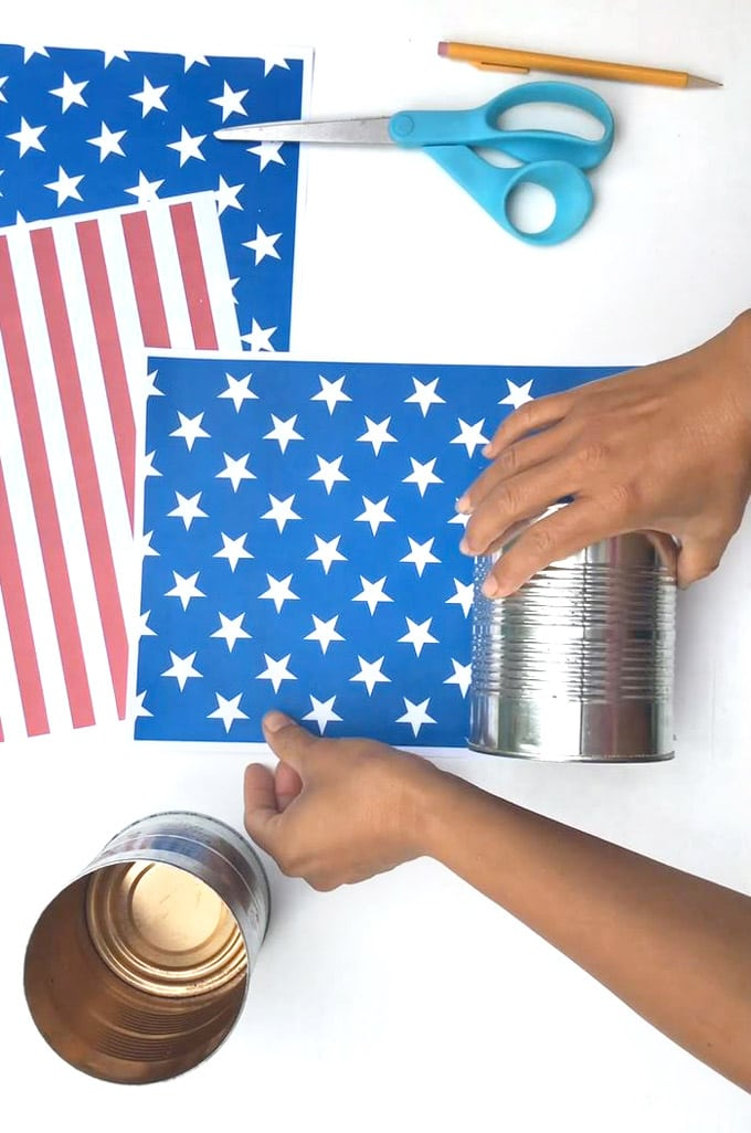 wrap printable designs around a can to make july 4th table decorations