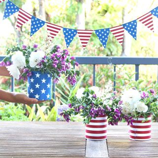 stars and stripes blue red white american flag inspired july 4th decorations table centerpiece vases part decor