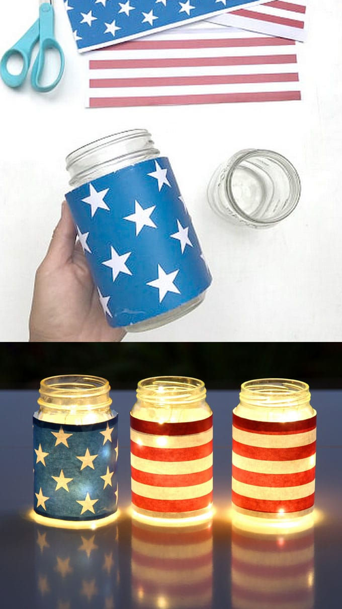 blue red white stars and stripe american flag inspired july 4th mason jar lights table centerpiece