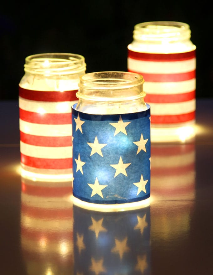 blue red white stars and stripebrightly lit with led string lights, three american flag inspired july 4th mason jar lights table centerpiece