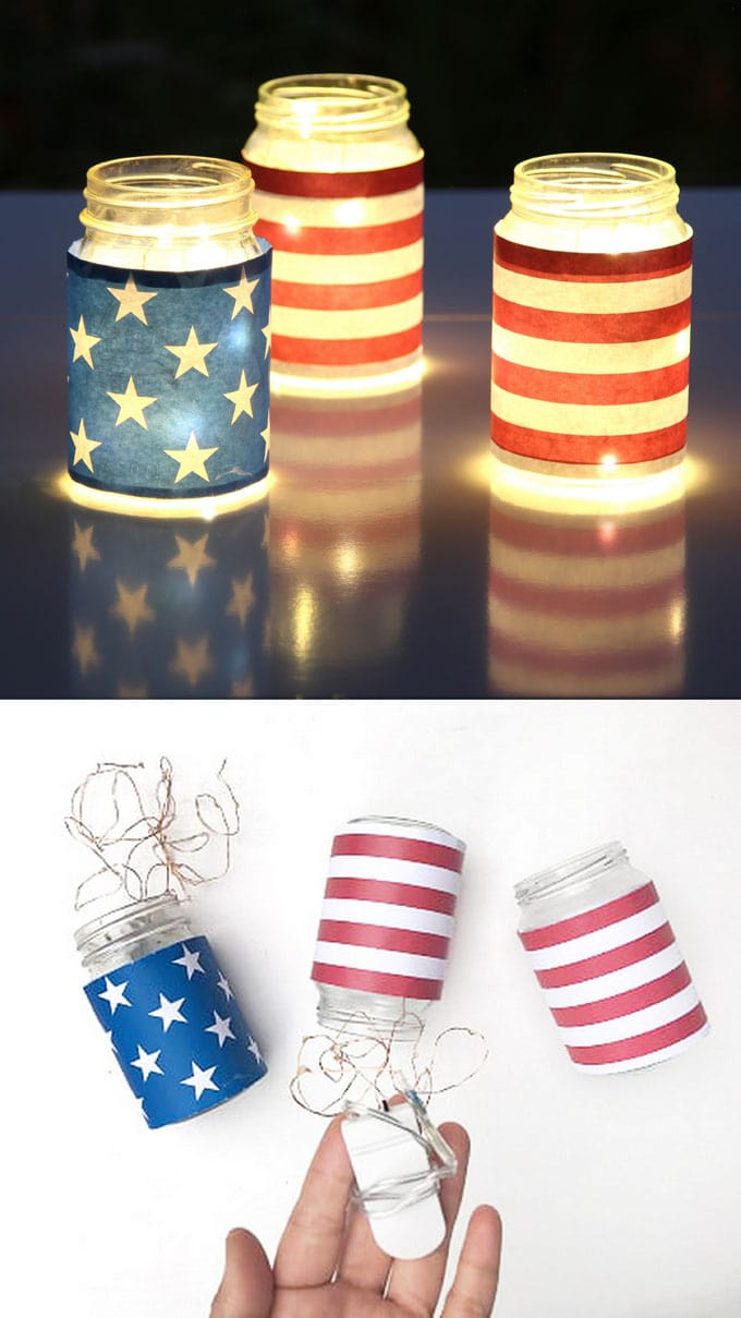 Magical & easy DIY July 4th mason jar lights decorations (for Labor Day too): gorgeous as July 4th party decor or table centerpieces. Free printables included!