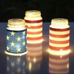 led string lights in stars and stripe blue red white american flag inspired july 4th mason jar lights table centerpiece