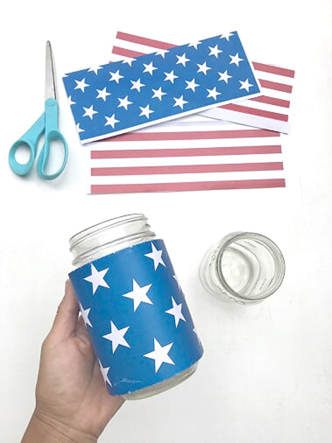 wrap blue red white stars and stripe printable design around mason jar