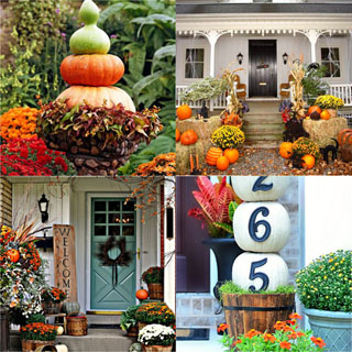 pumpkins, mums, straw bales as beautiful fall outdoor decorations for front porch and door