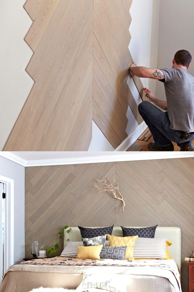 Herringbone pattern wood wall