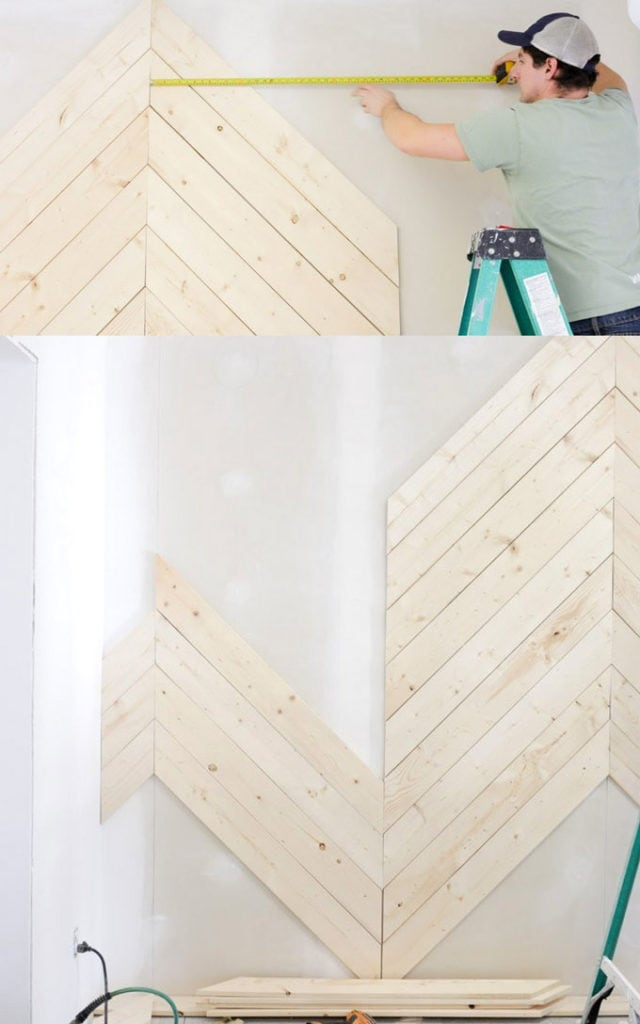 Herringbone diagonal pattern accent wall
