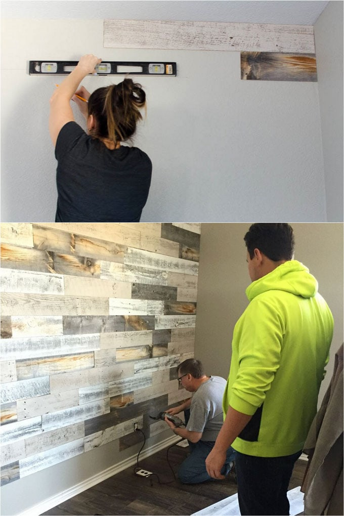 mixed color peel and stick wood wall