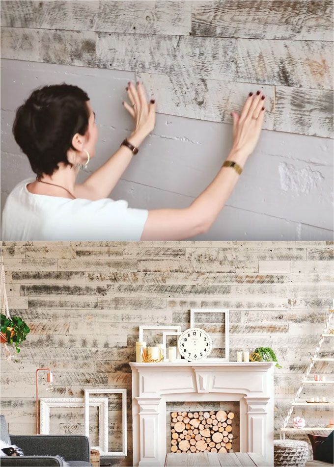 whitewashed wood plank wall, rustic farmhouse style