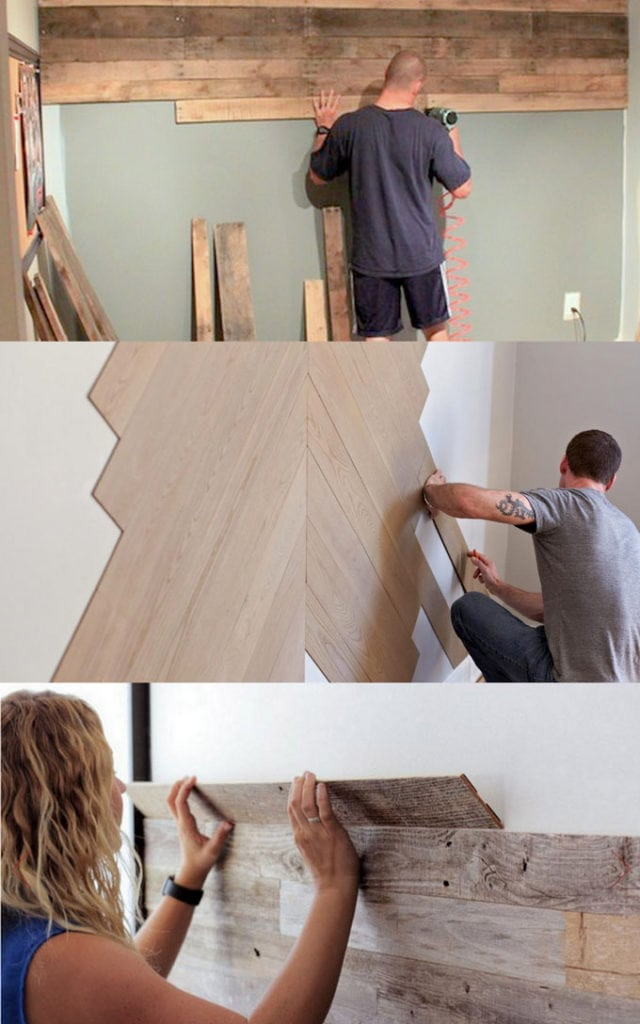 Best DIY pallet wall tutorials & designer tips on how to create beautiful accent wood wall paneling easily, plus peel and stick planks & wallpaper ideas!