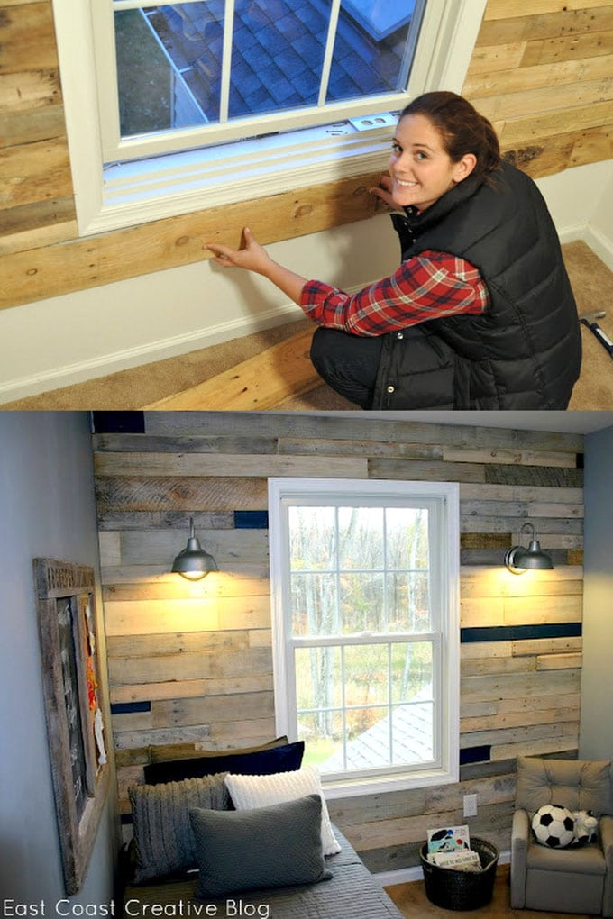 Multi-color stained pallet wood accent wall
