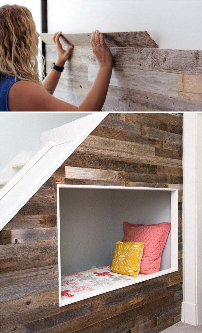 peel and stick wood wall DIY