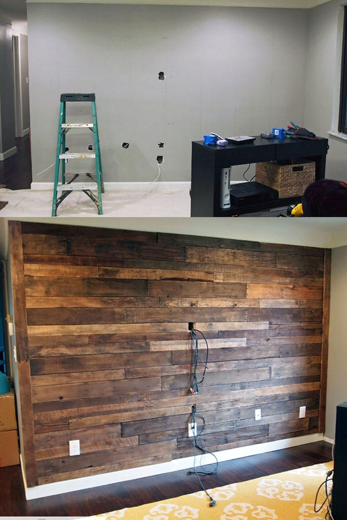 wood wall in living room